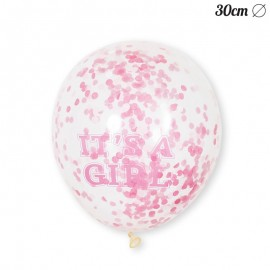 6 Globos de Confeti It's a Girl 30 cm