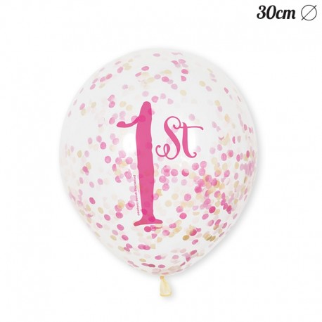 6 Globos de Confeti Primer Año Niña 30 cm