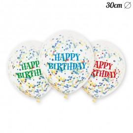 6 Globos de Confeti Happy Birthday 30 cm