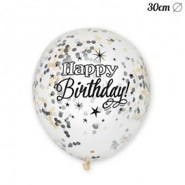 6 Globos de Confeti Happy Birthday Elegante 30 cm