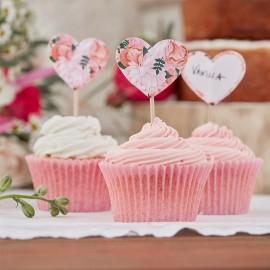 10 Toppers para Cupcake de Flores Boho