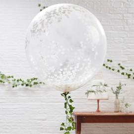 3 Globos de Confeti Gigante Blanco 90 cm