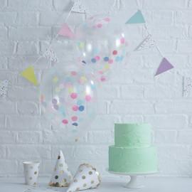 5 Globos de Confeti Colores Pastel 30 cm