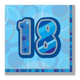 16 Servilletas 18 Años Azul Glitz