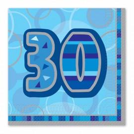 16 Servilletas 30 Años Azul Glitz