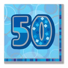 16 Servilletas 50 Años Azul Glitz