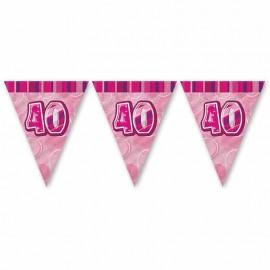 Banderín 40 Años Rosa Glitz