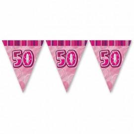 Banderín 50 Años Rosa Glitz