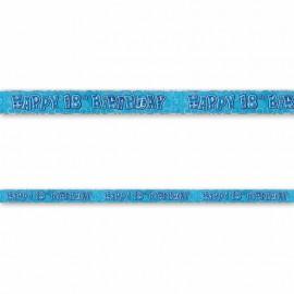 Cartel Happy Birthday 18 Años Azul Glitz