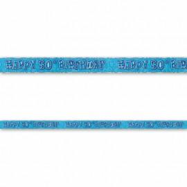 Cartel Happy Birthday 50 Años Azul Glitz