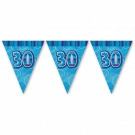 Banderín 30 Años Azul Glitz