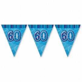Banderín 60 Años Azul Glitz
