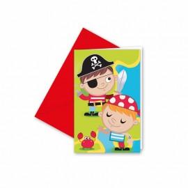 6 Invitaciones Pirata Infantil