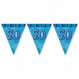 Banderín 50 Años Azul Glitz