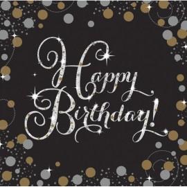 16 Servilletas Happy Birthday Elegant 33 cm