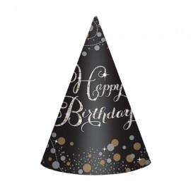 8 Gorros Elegant Cono Feliz Cumpleaños