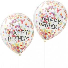 Globos de Confeti Happy Birthday Variados de 30cm
