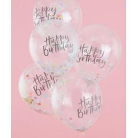 Globos de Confeti Happy Birthday Pastel de 30cm