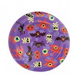 8 Platos Halloween Divertido 23 cm