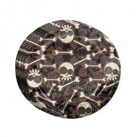 8 Platos Calavera Halloween 23 cm