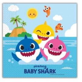 20 Servilletas Baby Shark 33 cm