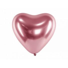 50 Globos Corazón Metalizados de 30 cm