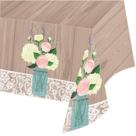 Mantel Rustic Wedding de Plástico 259 x 137 cm