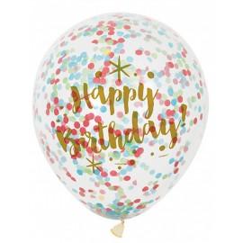 6 Globos Confeti Happy Birthday Oro