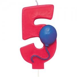 Vela Número 5 con Globo
