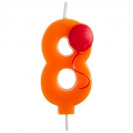 Vela Número 8 con Globo