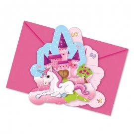 6 Invitaciones Unicornio