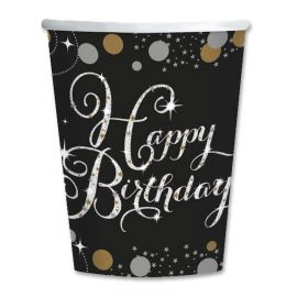 8 Vasos Elegant Happy Birthday 266 ml