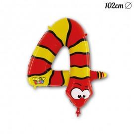 Globo Número 4 Serpiente Foil 102 cm