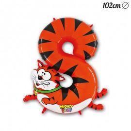 Globo Número 8 Tigre Foil 102 cm