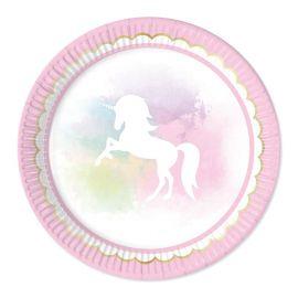 8 Platos Unicornio Rosa 23 cm