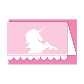 6 Invitaciones Unicornio Rosa