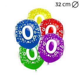 Globos Número 0 Redondos 32 cm