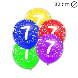 Globos Número 7 Redondos 32 cm