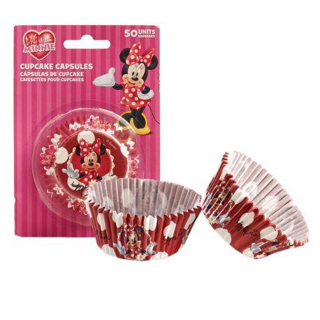 50 Cápsulas Minnie Mouse para Cupcakes