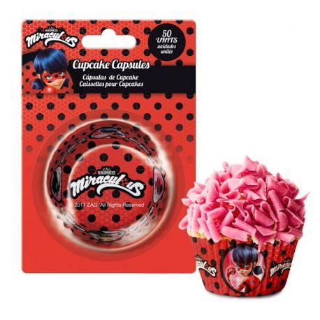 50 Cápsulas LadyBug para Cupcakes