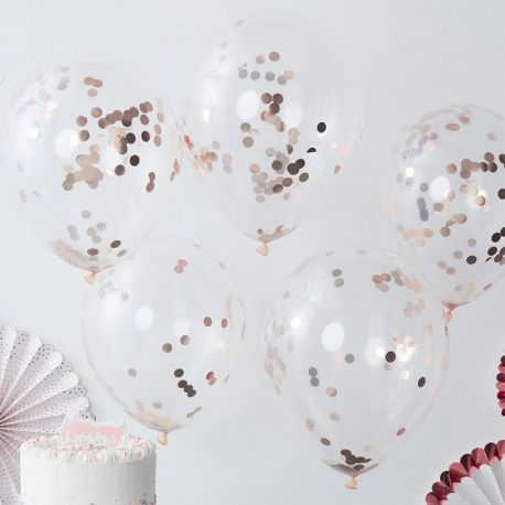 5 Globos con Confeti Rosa Gold 30 cm