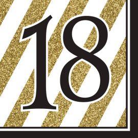 16 Servilletas 18 Negro y Oro
