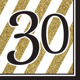 16 Servilletas 30 Negro y Oro