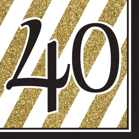 16 Servilletas 40 Negro y Oro