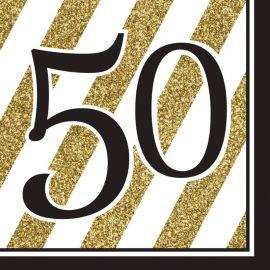 16 Servilletas 50 Negro y Oro