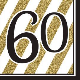 16 Servilletas 60 Negro y Oro