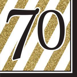16 Servilletas 70 Negro y Oro