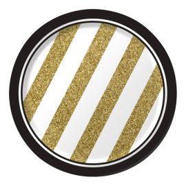 8 Platos Negro y Oro 18 cm