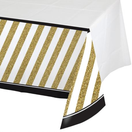 Mantel Negro y Oro 274 x 137 cm