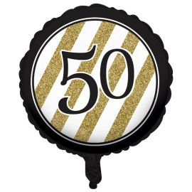 Globo 50 Negro y Oro 45 cm
